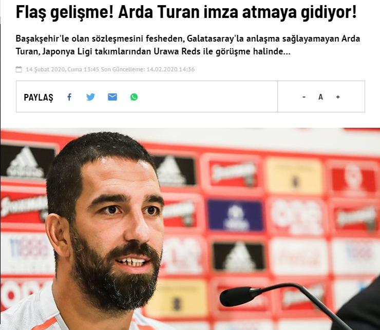 元バルセロナMFアルダ・トゥランが浦和移籍で合意間近!?トルコ紙が報じる